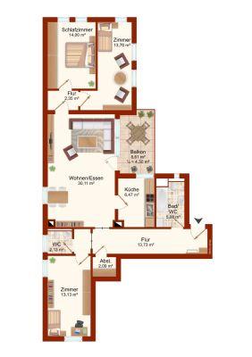 Beispielgrundriss einer Wohnung