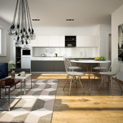 neubau 3 zw mit balkon und gro en gartenanteit mit terrasse kfw 55 enev 2016. Black Bedroom Furniture Sets. Home Design Ideas