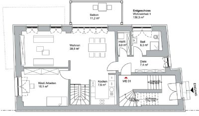 Grundriss Wohnung - obere Ebene