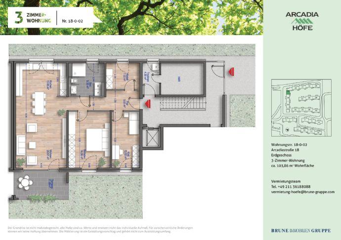 Erstbezug Gartenwohnung im Neubau! 3-Zimmer mit Fußbodenheizung in den Arcadia Höfen!