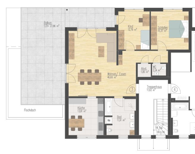 NEUBAU 3-Zimmer-Dachterrassenwohnung in ruhiger Wohnlage