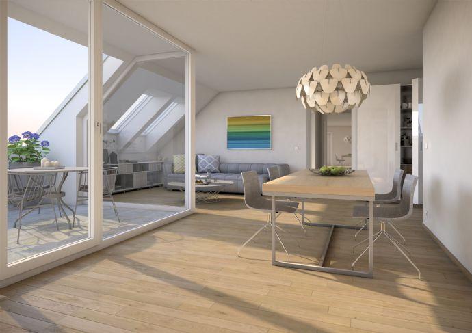Sonnige 5-Zi.-Dachwohnung mit Südloggia im charmanten Neubau! Grünes Umfeld, ansprechende Ausstattung, gute Infrastruktur,Top-Preis!