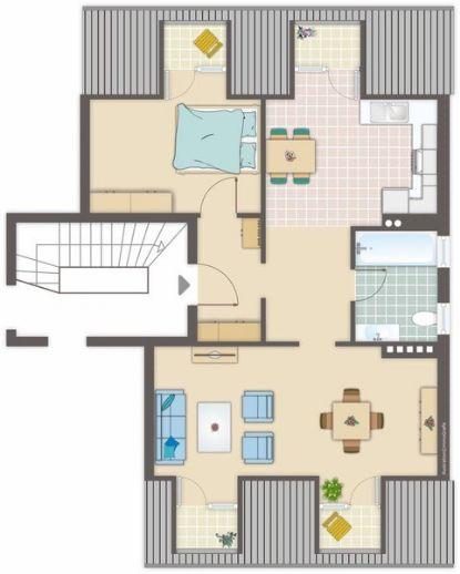 Renovierte 2-Zimmer-Dachgeschosswohnung mit Einbauküche in Aachen, Trierer Str.