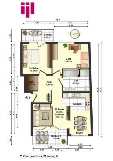 Komfort ohne Ende auf dem Westwall! Neubau mit EInbauküche, 2 Balkone, Parkett, Tiefgarage und vieles mehr!