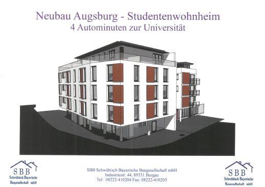 Neubau Augsburg - Studentenwohnheim - 4 Autominuten zur Uni