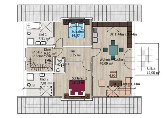 3 Zimmer, Küche, Bad, Balkon, BJ 2015,