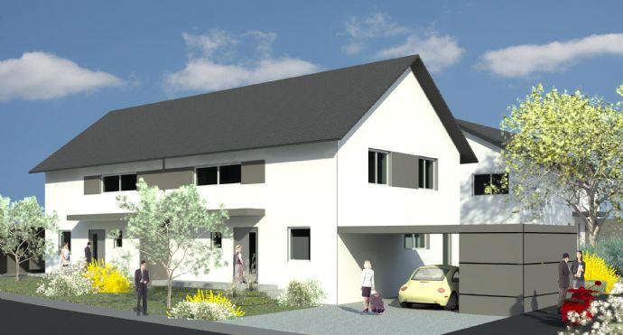 Schlüsselfertige energiesparende moderne Doppelhaushälften in Kfw 40 Bauweise incl. Grundstück, Carport und Gartenfertig