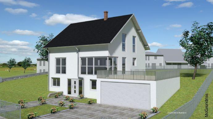 Projektiertes Einfamilienhaus und Doppelgarage mit Terrasse