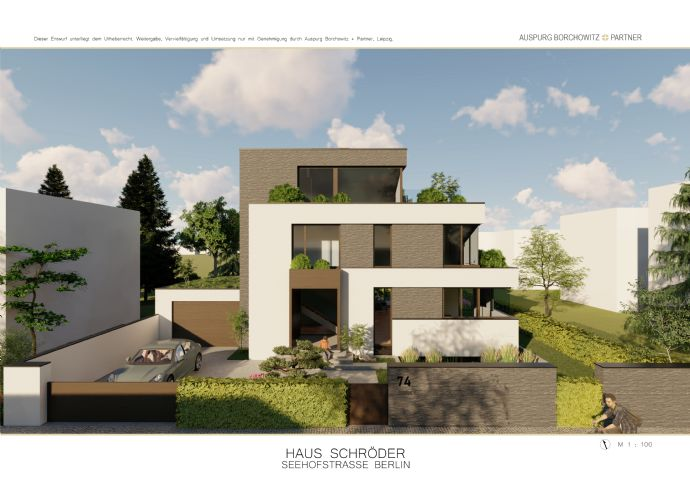 Zehlendorf-Nähe J.F. Kennedy-Schule und Laehr Park- avantgardistische Bauhausvilla in Villenlage