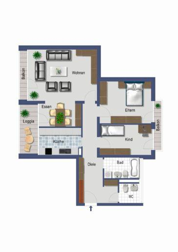 Perfekte Aufteilung auf 90 m²