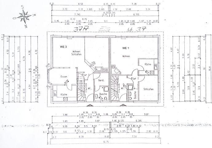 Mehrfamilienhaus mit 4 Wohnungen oder 2 Doppelhaus-âHälftenâ (44:56) + 1.031 m² Grundstück + Garage für 3 Pkw