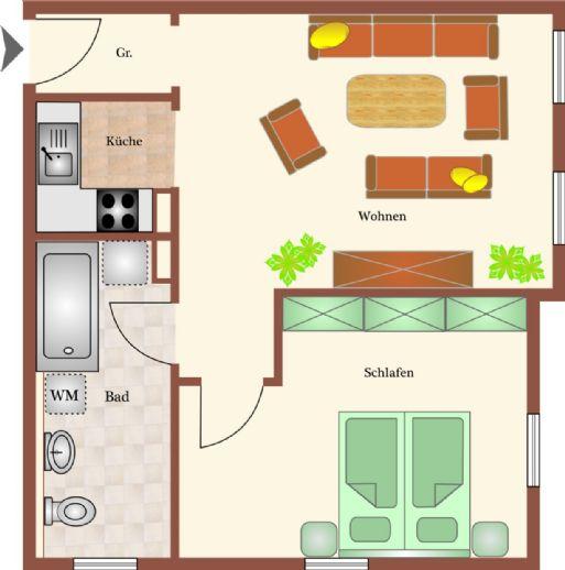 Schön geschnittene und frisch sanierte 2-Raumwohnung in beliebter Lage