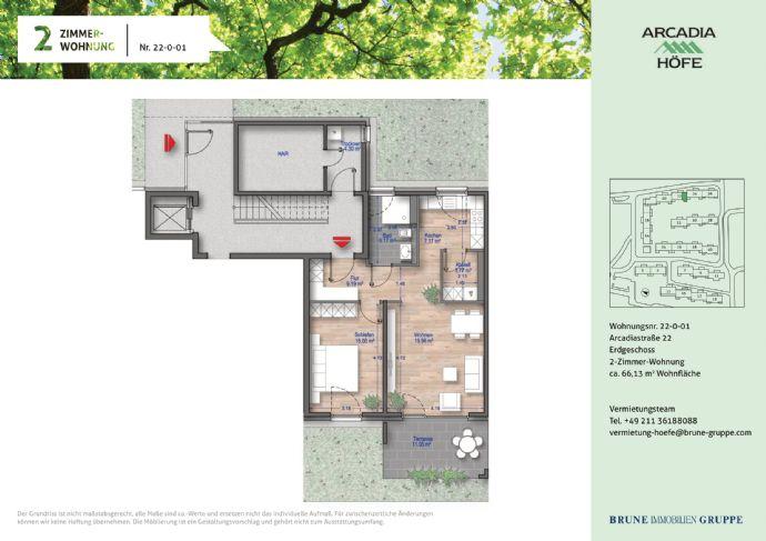 Erstbezug Gartenwohnung im Neubau! 2-Zimmer mit Fußbodenheizung in den Arcadia Höfen!