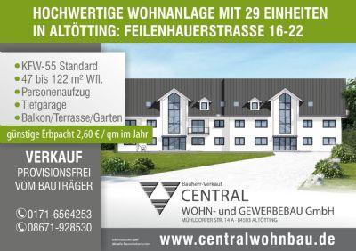 Neubau Eigentumswohnung in Altötting mit Aufzug, 3-Zi. Dachgeschoss mit Balkon