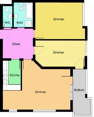 3-Raum-Wohnung im Dachgeschoss mit Balkon