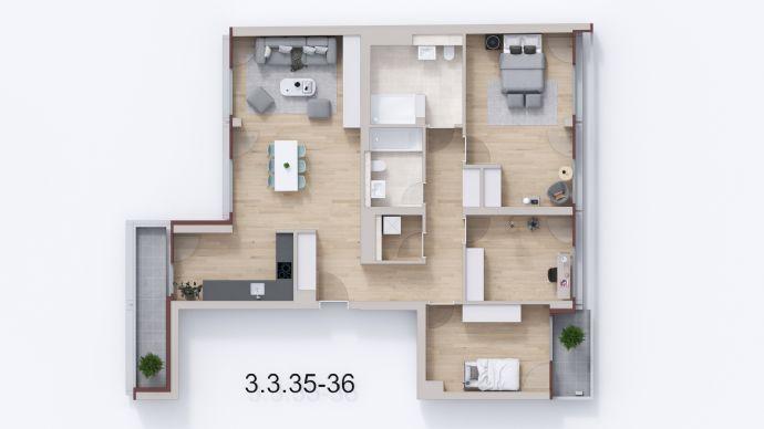 *Familienglück im Florakiez*: Helle 4-Zimmer- Neubauwohnung mit 2 Loggien (Süd- und Westausrichtung), NEUE FLORAHÖFE