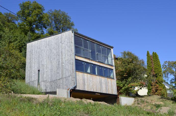 (Neubau) Modernes Holzhaus wartet auf Fertigstellung