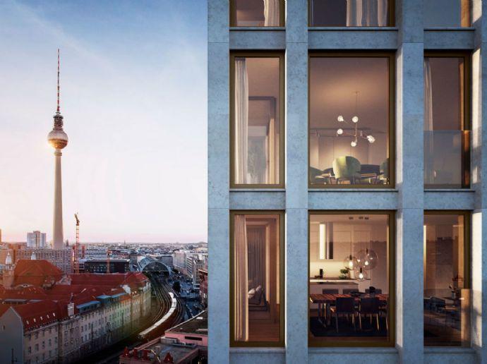 Erstbezug: Luxuriöse 3-Zimmer-Wohnung mit EBK, Loggia, GYM, Dachterasse und Concierge in Mitte