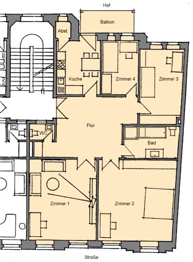 4-Raumwohnung mit Balkon im Zentrum West an ruhige Mieter/Familie (Nichtraucher, keine WG)