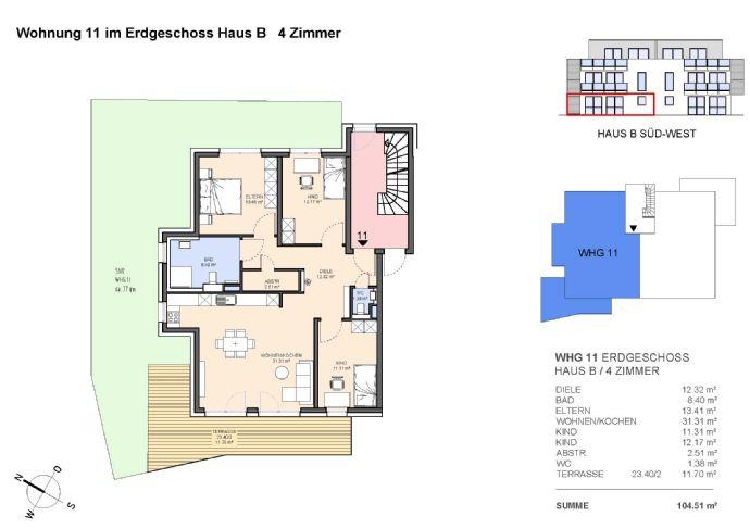 4-Zimmerwohnung mit Terrasse und Gartenanteil