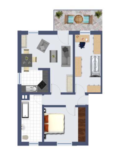 2-Zi-Dachgeschoß-Wohnung mit Balkon nahe Hbf.