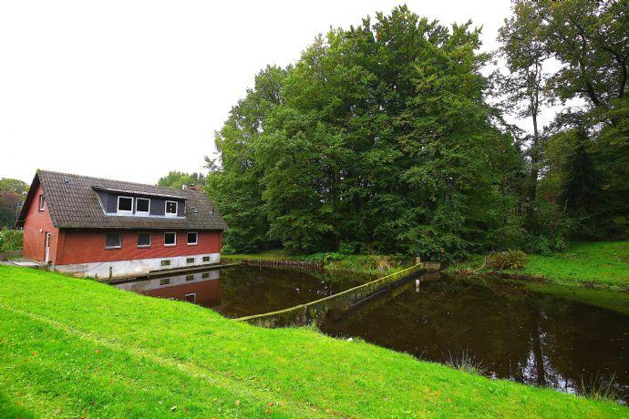 Haus mit eigenem See, Fischräucherei und Aquakulturanlage