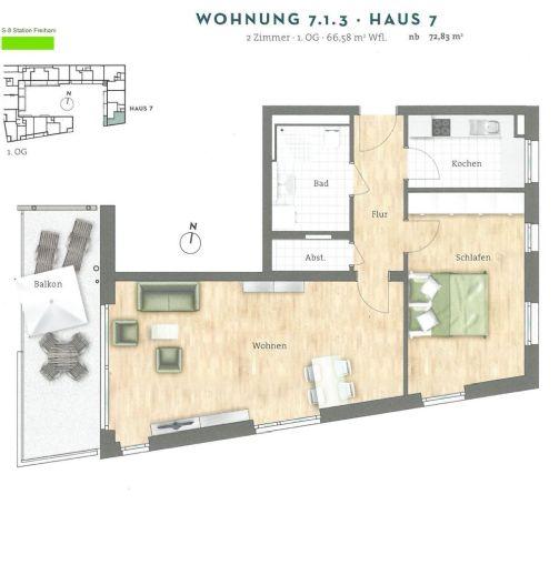 Stilvolle 2-Zimmer-Wohnung in Aubing mit Einbauküche und Balkon