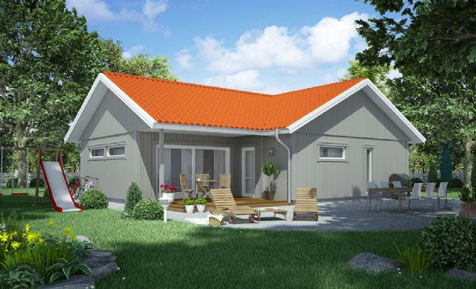 Skandinavischer Holzhaus-Bungalow in Niedrigenergiebauweise