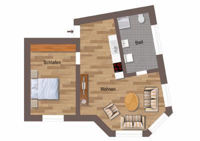 Freuen Sie sich auf 1 Monat mietfrei - top sanierte 2-Zi-Wohnung in EG-Lage!