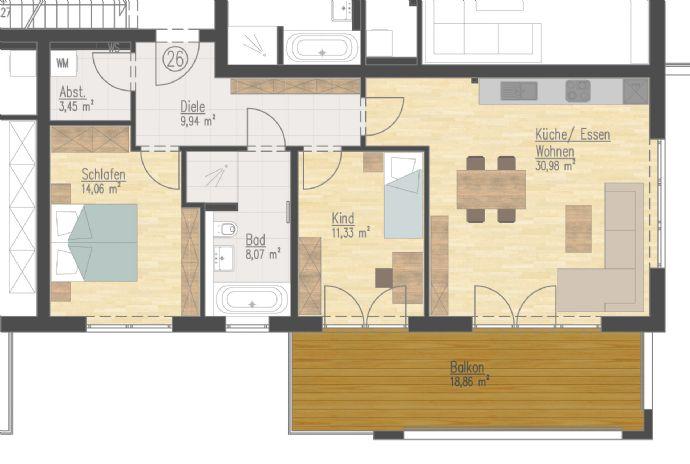 ERSTBEZUG! Neubau 3-Zimmer-Wohnung (1.OG)