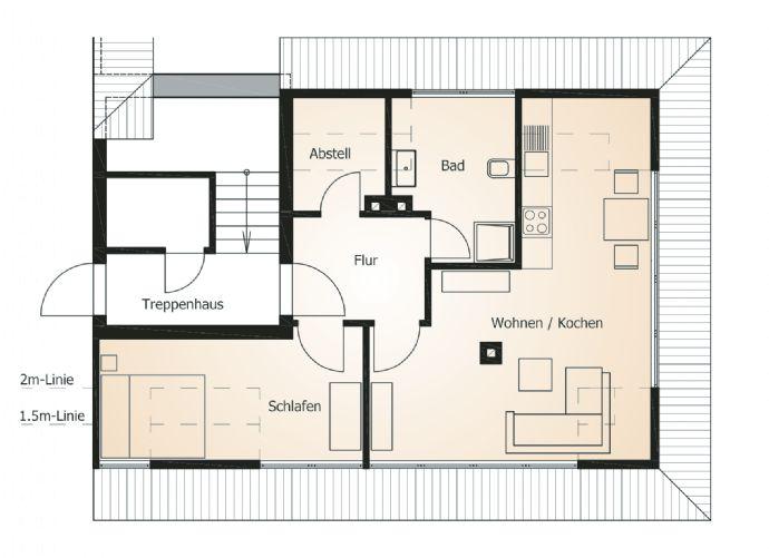 Helle 2-Raum Wohnung über den Dächern des Musikerviertels