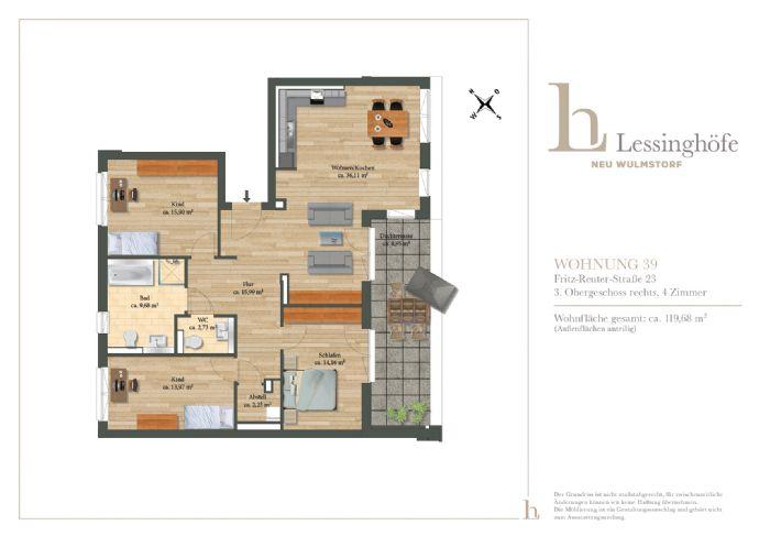 LESSINGHÖFE! 4-Zimmer Penthouse im ERSTBEZUG