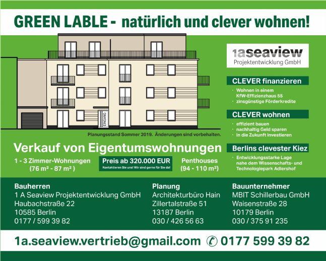 GREEN LABLE-natürlich und clever wohnen inklusive Dachterrasse!