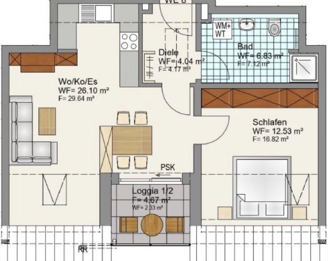 Neubau: 2 Zimmer Wohnung mit Loggia