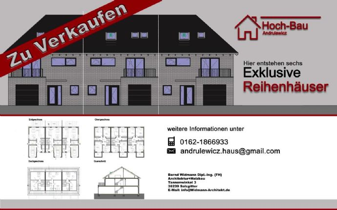 Provisionsfrei: Sechs Reihenhäuser mit viel Platz in Klein Gleidingen (Vechelde) zu verkaufen. Grundstück mit Bauträgervertrag.