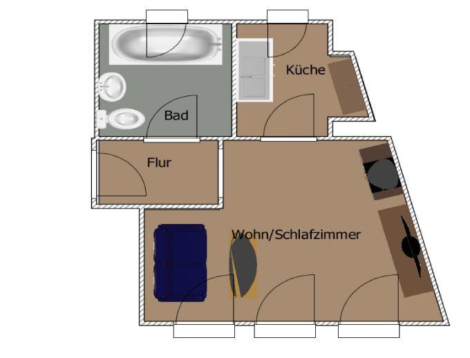 1 Raumwohnung in Buttstädt Ideal für ein Single oder Azubi