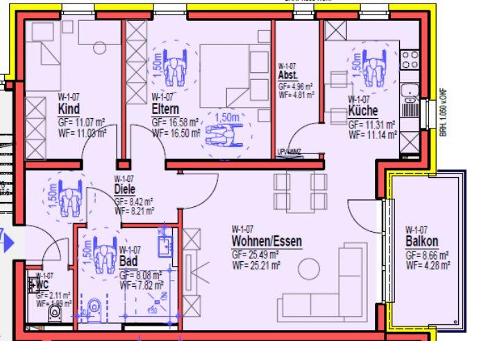 W-1-07 1. OG Rollstuhlgerechte Neubauwohnung in Zentraler Lage von Bitburg