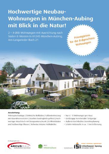 München-Aubing! 2,5-ZKB Obergeschoss-Wohnung mit 7 m² Süd-Balkon, elektrischen Rollläden, Fußbodenheizung, Videosprechanlage und Dusche bodengleich!