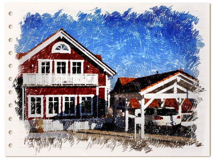 Einmalig: Haus im Schweden- oder New England-Stil, schön und nachhaltig auf einem Grundstück mit altem Laubwald!