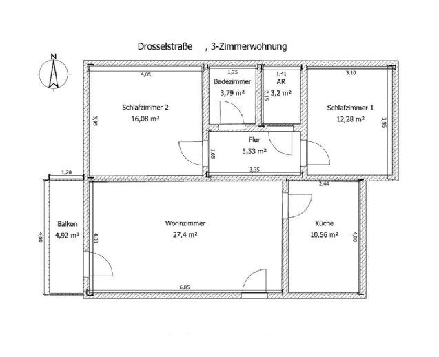Frisch sanierte 3-Zimmer-Mietwohnung in zentraler Lage