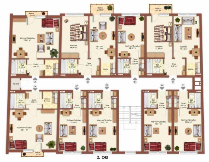 Unmöbliertes 1 Zimmer Apartment