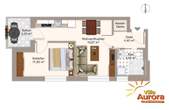 Freundliche 2-Zimmer-Senioren-Service-Wohnung in Fürth nähe U-Bahn!