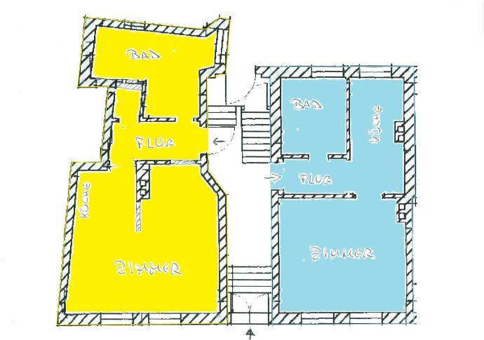 Einraumwohnung im erhöhten Erdgeschoss