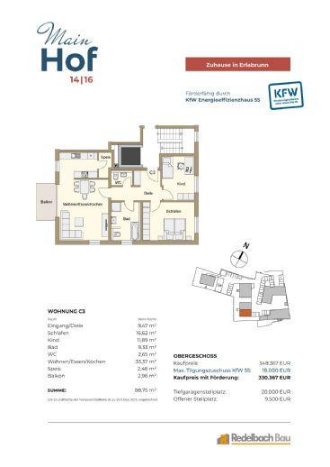 MAINHOF 14/16 ERLABRUNN- Provisionsfreie 3-Zimmerwohnung mit Balkon - Whg. C3