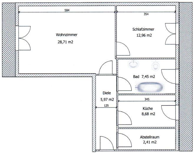 Helle, geräumige Dachgeschoßwohnung, 2 Zimmer, Küche, Bad, Kellerraum und Tiefgaragenstellplatz