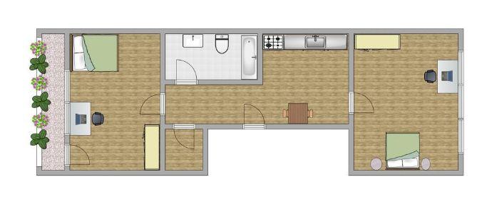 Vollständig renovierte Wohnung mit zwei Zimmern sowie Balkon und Einbauküche in Aachen