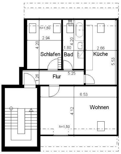 Schicke 2-Zimmer-Dachgeschosswohnung in ruhiger, grüner Lage