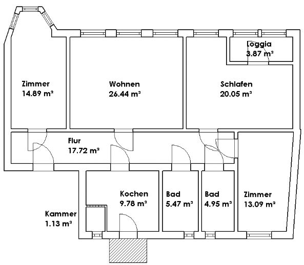 4-Raum-Wohnung in Senftenberg, 1. Obergeschoss