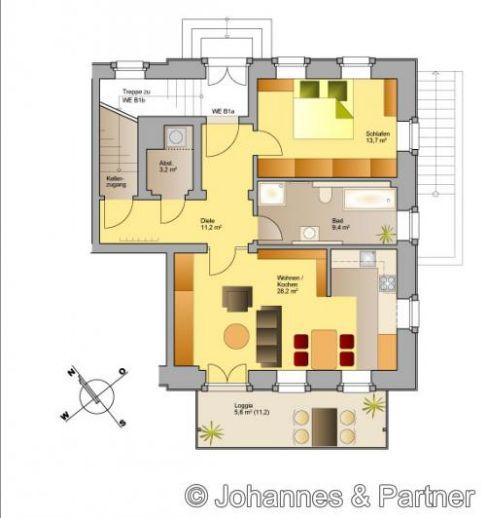 Erstbezug - 2 Zimmer-Wohnung im stilgerecht saniertem Dreiseitenhof