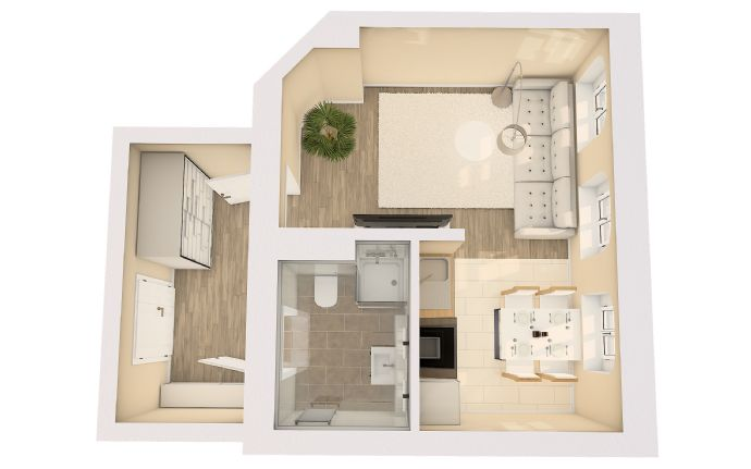Moderne möblierte 1-Zimmer-Wohnung im 2. Stock mit 34 m² Wfl.